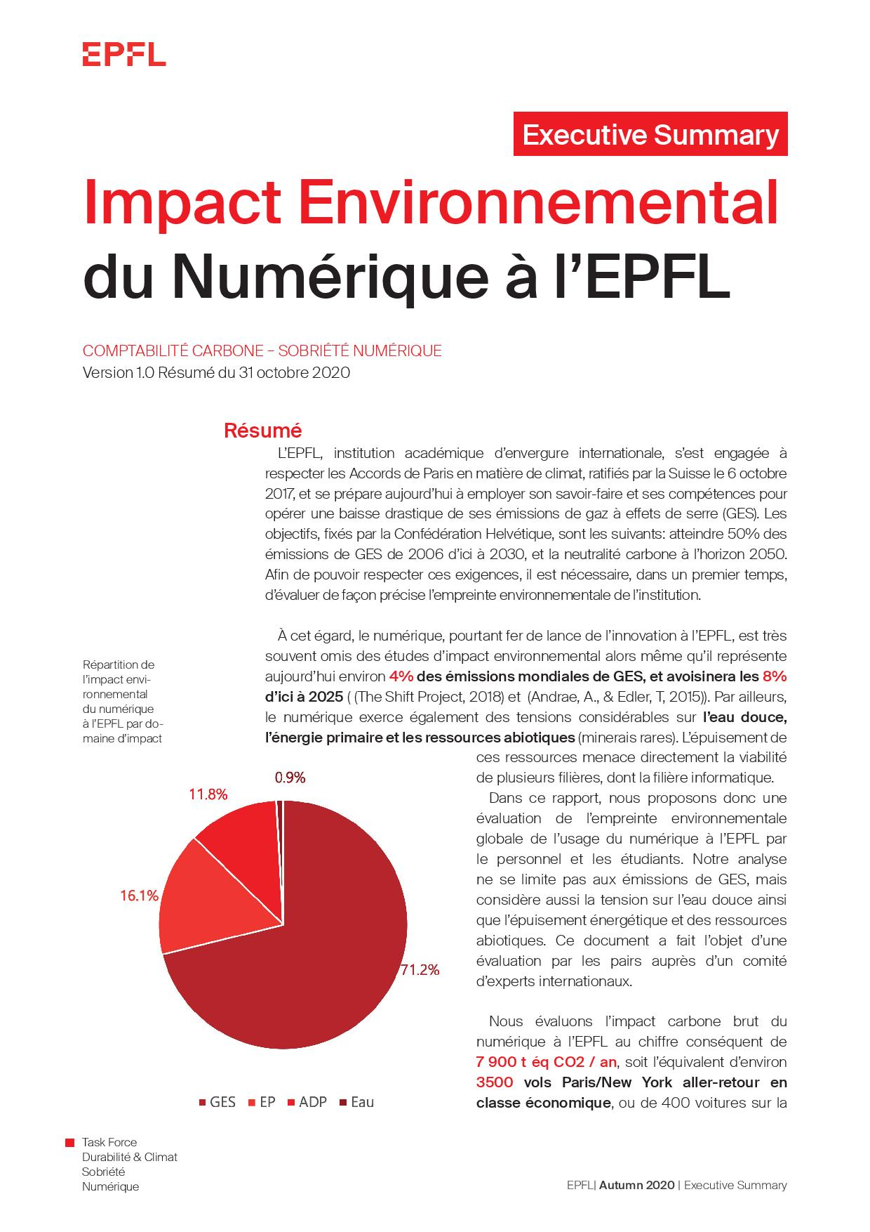 EPFL - Impact of Digital Activities - Executive Summary